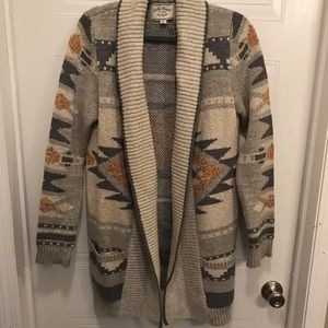 Lucky Brand Aztec Print Sweater Coat XL NWOT